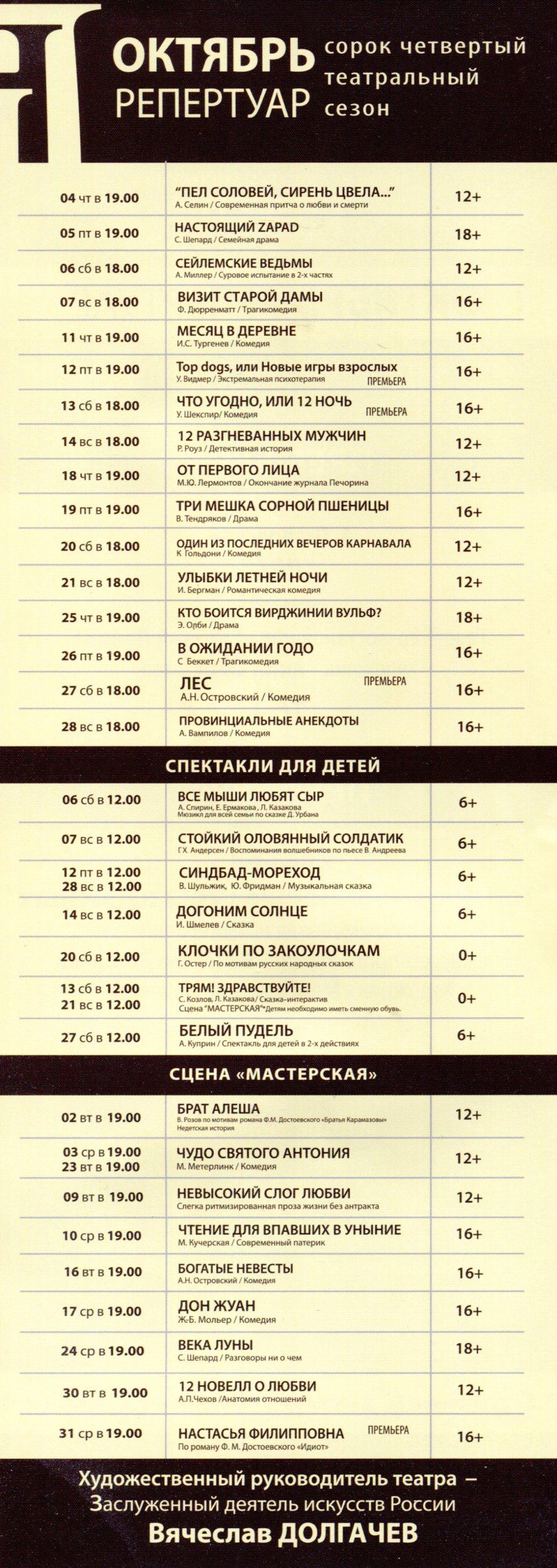 Репертуар Московского Нового драматического театра на Октябрь 2018 года