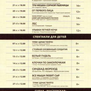 Репертуар Московского Нового драматического театра на Апрель 2019 года